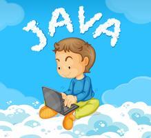Junger Mann, der JAVA auf Wolke codiert