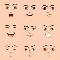 Unterschiedliche Gesichtsausdrücke des Menschen vektor