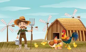 Landwirt und Hühner auf dem Hof