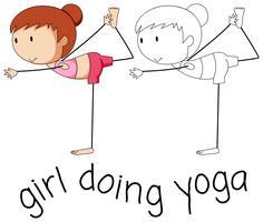 Dooldle tjej gör yoga vektor