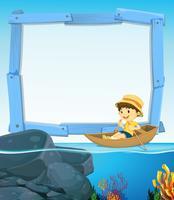 Gränsdesign med pojke robåt vektor