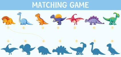 Dinosaurier-Schatten-Matching-Spiel vektor
