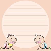 Linie Papiervorlage mit zwei Säuglingen