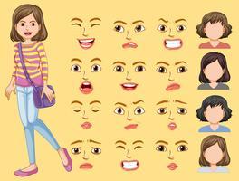 Flicka med olika ansiktsuttryck vektor