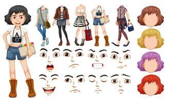 En flicka karaktär med olika kropp och ansikte vektor