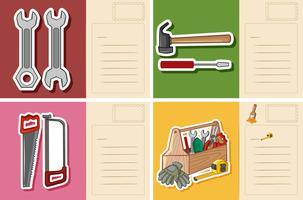 Postkartenvorlage mit verschiedenen Tools vektor