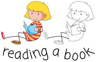 Doodle girl läser en bok vektor