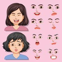 Mädchen mit unterschiedlichem Gesichtsausdruck
