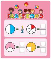 Arbeitsblattvorlage für mathematische Fraktionen vektor