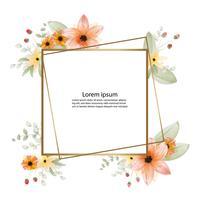 schöne Blütenblumen-Aquarellmalerei und Rahmen- oder Fahnenhintergrund vektor