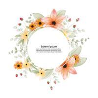 vacker blomning vattenfärg målning och ram eller banner bakgrund vektor