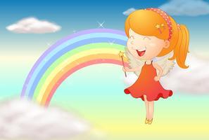 En vinkel tjej och en regnbåge