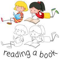 Doodle flickor läser bok vektor
