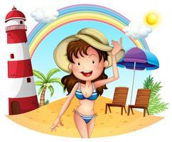 En tjej njuter av sommaren