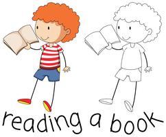 Doodle grafisk av pojken läser vektor