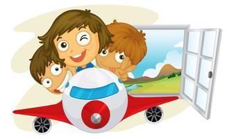 Glückliche Kinder, die auf ein Düsenflugzeug fahren vektor