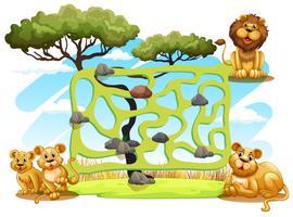 Spielvorlage mit Löwen im Feld vektor