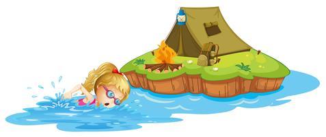 En tjej simmar nära en ö med tält vektor