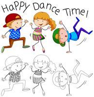 Doodle lycklig dansare karaktär vektor