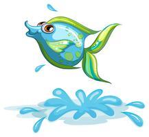 En söt fisk vid havet vektor