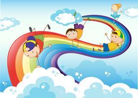 Stickmen, die mit dem Regenbogen spielen vektor