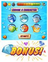 Spielvorlage mit Fisch- und Hai-Charakteren