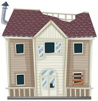 Hausruine mit zerbrochenem Dach und Fenster vektor