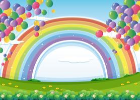 En himmel med en regnbåge och färgglada flytande ballonger