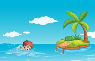 En tonåring som simmar vid havet med en liten ö vektor