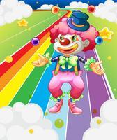 En clown jonglering med bollarna