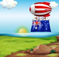 En flytande ballong med Australiens flagga
