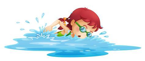 En ung tjej simmar i sin gröna badklänning