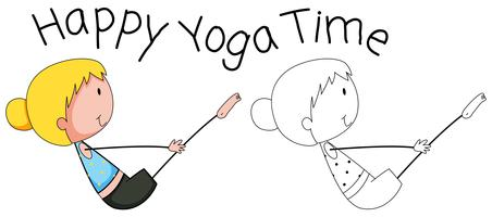Glückliches Mädchen des Gekritzels, das Yoga tut