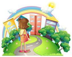 Ein Mädchen mit einer Umhängetasche geht ins Büro vektor