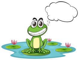 Ein Frosch am Teich mit leerem Hinweis vektor
