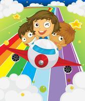 Ein Flugzeug mit drei verspielten Kindern vektor