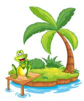 Eine Insel mit einem Frosch über der Holzbrücke
