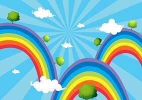 Tre regnbågar vektor