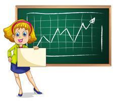 Eine Geschäftsfrau, die vor der Tafel mit einem leeren Signage steht