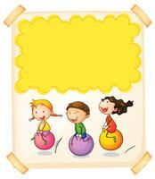 Papierdesign mit drei Kindern auf großen Bällen
