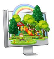 Kinder, die auf dem Spielplatz auf Bildschirm spielen vektor