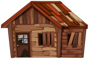 Holzhaus in schlechtem Zustand vektor
