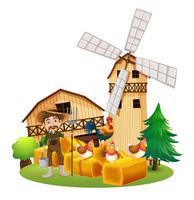 Bauer und Hühner auf dem Hof