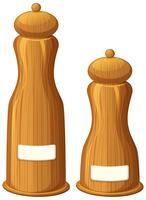 Pfeffer- und Salzstreuer aus Holz vektor