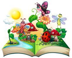 Schmetterlinge und andere Insekten im Buch vektor