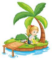 Ein trauriges Mädchen auf der Insel beobachtet das Wasser