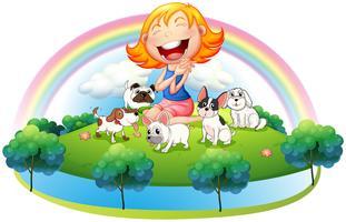 En ö med en tjej och hennes fem husdjur vektor