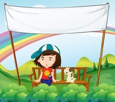Ein Mädchen und ihr Hund nahe einer leeren Fahne