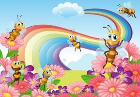 En trädgård på kullen med blommande blommor och bin