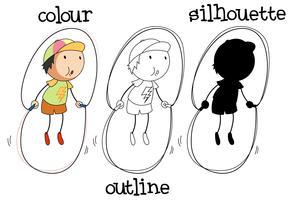 Satz des unterschiedlichen Grafikdesigns des Jungenspringseils